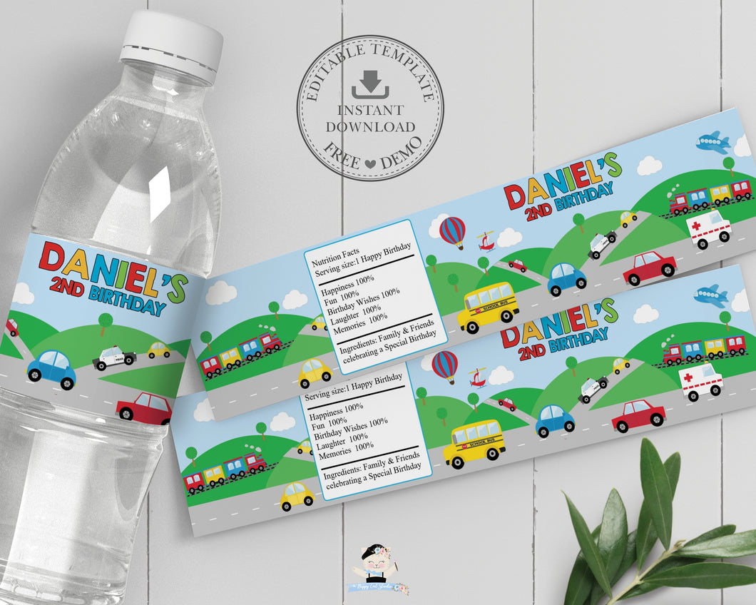 Transportation Birthday Party Water Bottle Labels - Instant EDITABLE TEMPLATE - TR1
