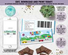 Load image into Gallery viewer, vibrant-and-colourful-transportation-birthday-party-chocolate-bar-wrappers-favours-for-aldi-mini-choceur-and-hersheys-editable-template-instant-download-digital-file