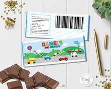 Load image into Gallery viewer, vibrant-and-colourful-transportation-birthday-party-chocolate-bar-wrappers-favours-for-aldi-mini-choceur-and-hersheys-editable-template-instant-download-digital-file-cars-trucks-trains-police-car-school-bus