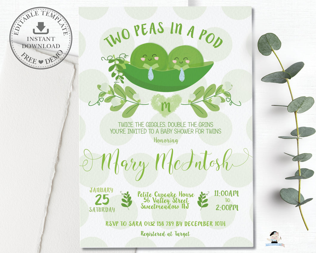 Cute Two Peas in a Pod Twin Boys Invitation Editable Template - Instant Download - TP1