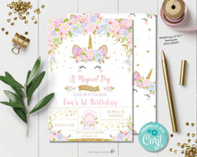 Load image into Gallery viewer, Unicorn Dream Birthday Invitation - Instant EDITABLE TEMPLATE - UB2