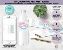 Load image into Gallery viewer, Unicorn Pool Birthday Party Water Bottle Labels - Instant EDITABLE TEMPLATE - UF1