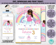 Load image into Gallery viewer, african american princess and unicorn birthday party editable invitation template