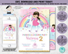 Load image into Gallery viewer, Princess and Unicorn Birthday Party Invitation Digital Printable Editable Template
