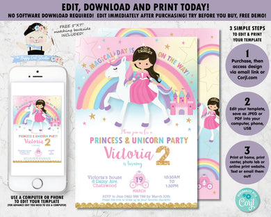 Princess and Unicorn Birthday Party Invitation Digital Printable Editable Template