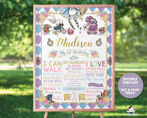 Whimsical Alice in Wonderland 1st Birthday Milestone Sign / Birth Stats - Sign Editable Template - Digital Printable File - Instant Download - AW1