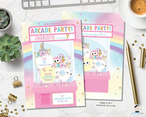 Arcade Unicorn Birthday Party Pink Invitation - Instant EDITABLE TEMPLATE - AC1