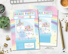 Load image into Gallery viewer, Arcade Unicorn Birthday Party Invitation - Instant EDITABLE TEMPLATE - AC1