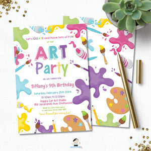 Pastel Art Party Girl Birthday Invitation EDITABLE TEMPLATE Digital Printable File Instant Download AP1