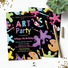 Load image into Gallery viewer, Pastel Art Party Girl Birthday Invitation EDITABLE TEMPLATE Digital Printable File Instant Download AP1