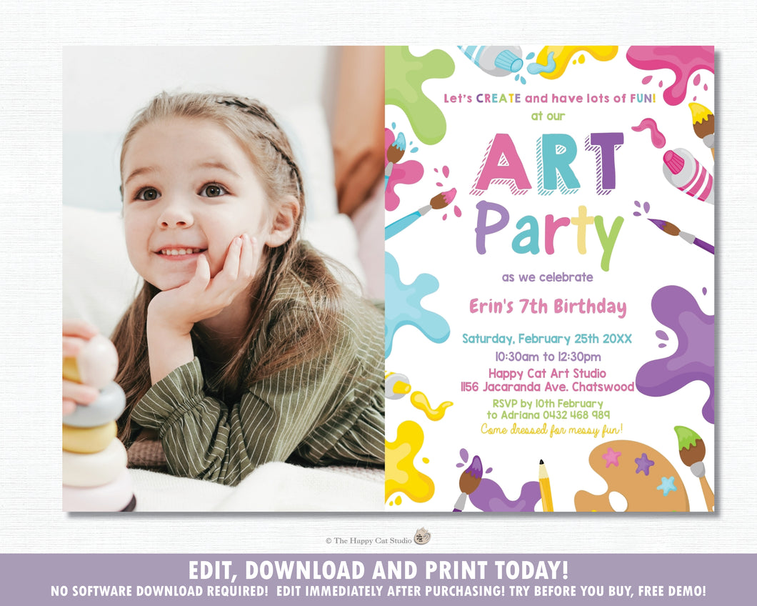 Pastel Art Party Girl Birthday Invitation with Photo EDITABLE TEMPLATE Digital Printable File Instant Download AP1