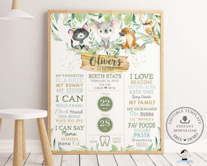 Greenery Australian Animals Koala Platypus 1st Birthday Milestone Sign Birth Stats - Editable Template - Digital Printable File - Instant Download - AU1