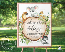 Load image into Gallery viewer, Australian Animals Koala Platypus Birthday Baby Shower Welcome Sign - Editable Template - Digital Printable File - Instant Download - AU1
