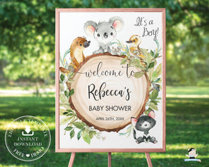 Australian Animals Koala Platypus Birthday Baby Shower Welcome Sign - Editable Template - Digital Printable File - Instant Download - AU1