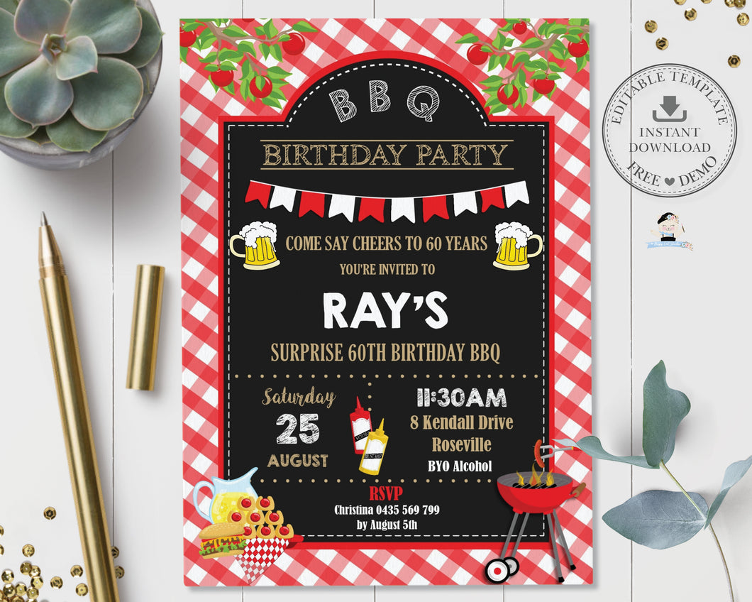 Backyard BBQ Birthday Party Invitation Editable Template - Instant Download - Digital Printable File - BQ1