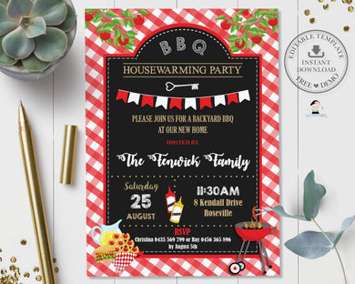 Backyard BBQ Housewarming Party Invitation Editable Template - Instant Download - Digital Printable File - BQ1
