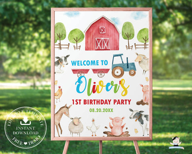 Farm Animals Barnyard Fun Baby Shower Birthday Welcome Sign Editable Template - Digital Printable File - Instant Download - BY1