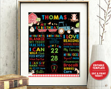 Load image into Gallery viewer, Farm Animals 1st Birthday Milestone Sign Birth Stats Poster Board - DIY Editable Template - Instant Download - BY1