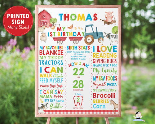 PRINTED Barnyard Farm Animals Personalized 1st Birthday Milestone Sign Poster Nursery Wall Art Decor - FREE U.S Shipping - BY1