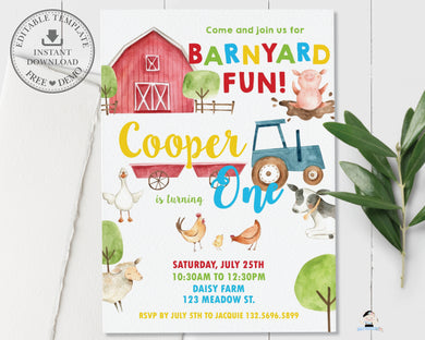Farm Animals Barnyard Fun Personalized 1st Birthday Party Invitation - DIY Editable Template - Instant Download - BY1