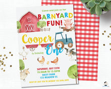 Load image into Gallery viewer, Farm Animals Barnyard Fun Personalized 1st Birthday Party Invitation - DIY Editable Template - Instant Download - BY1