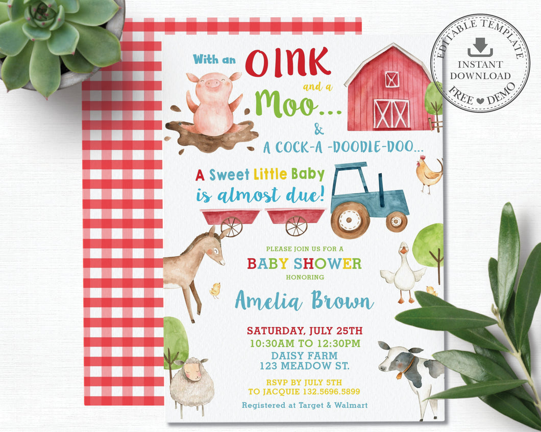 Farm Animals Barnyard Fun Personalized Baby Shower Invitation - DIY Editable Template - Instant Download - BY1
