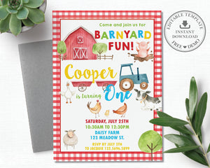 Farm Animals Barnyard Fun Red Gingham Personalized First Birthday Party Invitation - DIY Editable Template - Instant Download - BY1