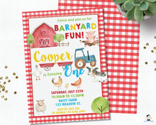 Load image into Gallery viewer, Farm Animals Barnyard Fun Red Gingham Personalized First Birthday Party Invitation - DIY Editable Template - Instant Download - BY1