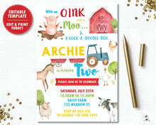 Load image into Gallery viewer, Farm Animals Barnyard Personalized Birthday Party Invitation - DIY Editable Template - Instant Download - BY1