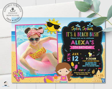 Girl Beach Bash Pool Party Birthday Invitation Editable Template - Instant Download - Digital Printable File - PL1