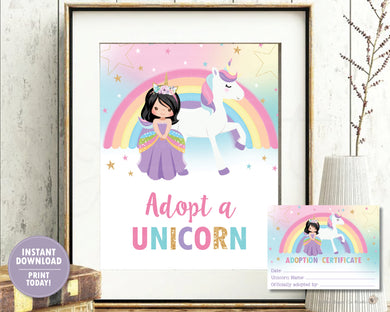 Adopt a Unicorn Sign and Adoption Certificate Card - Black Hair Princess and Unicorn -Instant Download - PU1