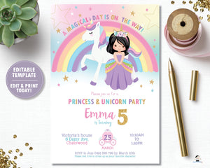 Princess and Unicorn Birthday Party Invitation Black Hair - Instant EDITABLE TEMPLATE - PU1