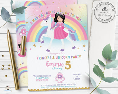 Cute Princess Riding a Unicorn Birthday Invitation Editable Template - Instant Download Digital Printable File - PU1