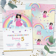 Load image into Gallery viewer, Cute Princess Riding a Unicorn Birthday Invitation Editable Template - Instant Download Digital Printable File - PU1