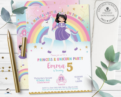 Cute Black Hair Princess Riding a Unicorn Birthday Invitation Editable Template - Instant Download Digital Printable File - PU1