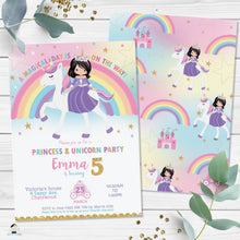 Load image into Gallery viewer, Cute Black Hair Princess Riding a Unicorn Birthday Invitation Editable Template - Instant Download Digital Printable File - PU1