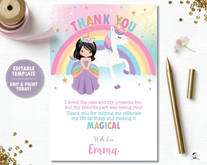 Princess and Unicorn Birthday Party Thank You Note Card Black Hair - Instant EDITABLE TEMPLATE - PU1
