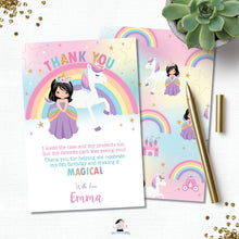 Load image into Gallery viewer, Princess and Unicorn Birthday Party Thank You Note Card Black Hair - Instant EDITABLE TEMPLATE - PU1
