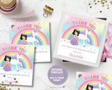 Load image into Gallery viewer, Princess and Unicorn Birthday Party Thank You Tag Favor Sticker Label Editable Template - Black Hair -Instant EDITABLE TEMPLATE - PU1