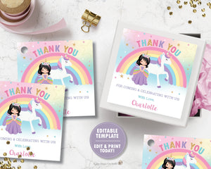 Princess and Unicorn Birthday Party Thank You Tag Favor Sticker Label Editable Template - Black Hair -Instant EDITABLE TEMPLATE - PU1