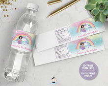Load image into Gallery viewer, Black Hair Princess and Unicorn Birthday Party Water Bottle Label Sticker Editable Template - Instant EDITABLE TEMPLATE - PU1