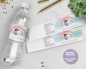 Black Hair Princess and Unicorn Birthday Party Water Bottle Label Sticker Editable Template - Instant EDITABLE TEMPLATE - PU1