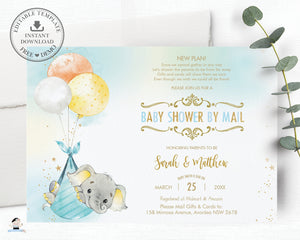 Elephant Baby Shower by Mail Invitation Baby Boy Long Distance Virtual Shower - Editable Template - Instant Download - EP3