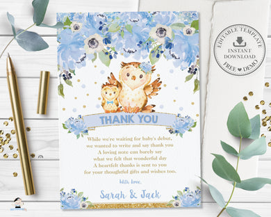 Blue Floral Cute Mom and Baby Owls Thank You Card - Editable Template - Digital Printable File - Instant Download - OW2