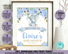Load image into Gallery viewer, Blue-Floral-Elephant-Baby-Boy-Shower-Welcome-Sign-Poster-Decor-Instant-Editable-Template