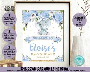 Blue-Floral-Elephant-Baby-Boy-Shower-Welcome-Sign-Poster-Decor-Instant-Editable-Template