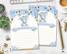 Load image into Gallery viewer, Elephant baby boy shower Advice for Parents to be poster sign and message cards