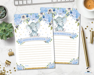 Elephant baby boy shower Advice for Parents to be poster sign and message cards