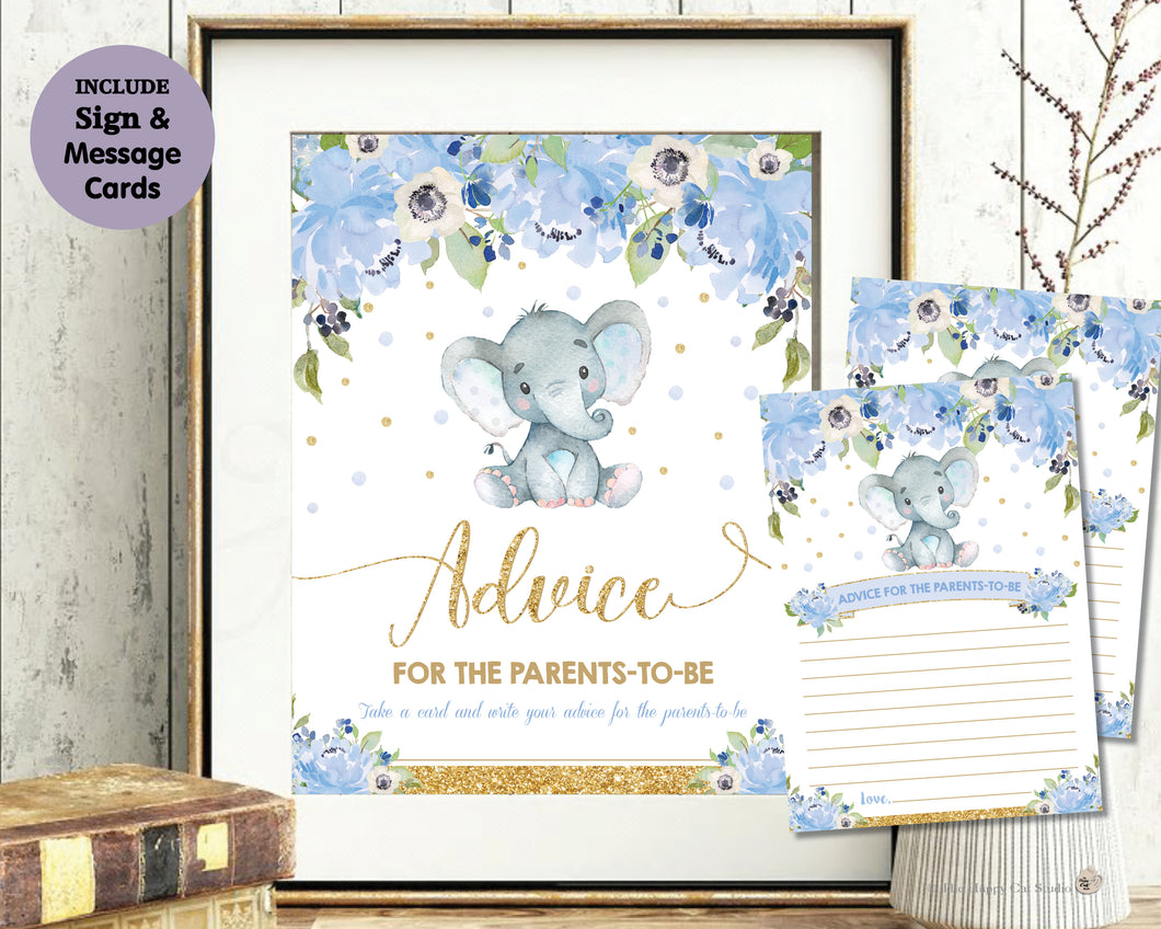 Blue Watercolor Floral Baby Boy Elephant Shower Advice for Parents to Be Sign and Note Cards