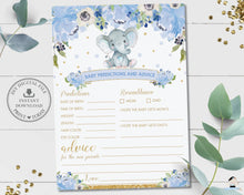 Load image into Gallery viewer, Baby Predictions and Advice Cute Elephant Blue Floral Boy Baby Shower Game Activity - Instant Download - Digital Printable File - EP6
